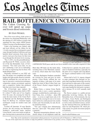 los angeles times reprint train
